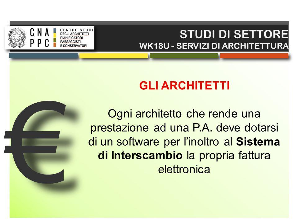€ € STUDI DI SETTORE WK18U - SERVIZI DI ARCHITETTURA GLI ARCHITETTI Ogni architetto che rende una prestazione ad una P.A. deve dotarsi di un software
