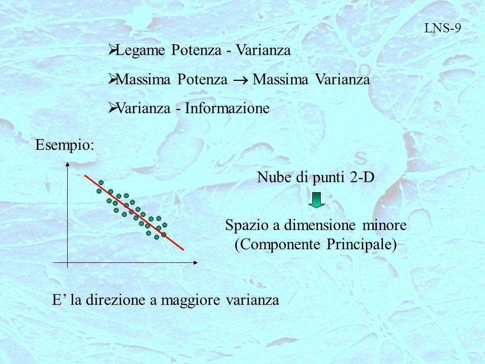 LNS-9  Legame Potenza - Varianza  Massima Potenza  Massima Varianza  Varianza - Informazione Esempio: Nube di punti 2-D Spazio a dimensione minore