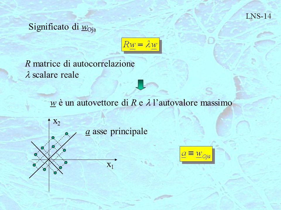 LNS-14 Significato di w Oja R matrice di autocorrelazione scalare reale w è un autovettore di R e l'autovalore massimo x1x1 x2x2 a asse principale