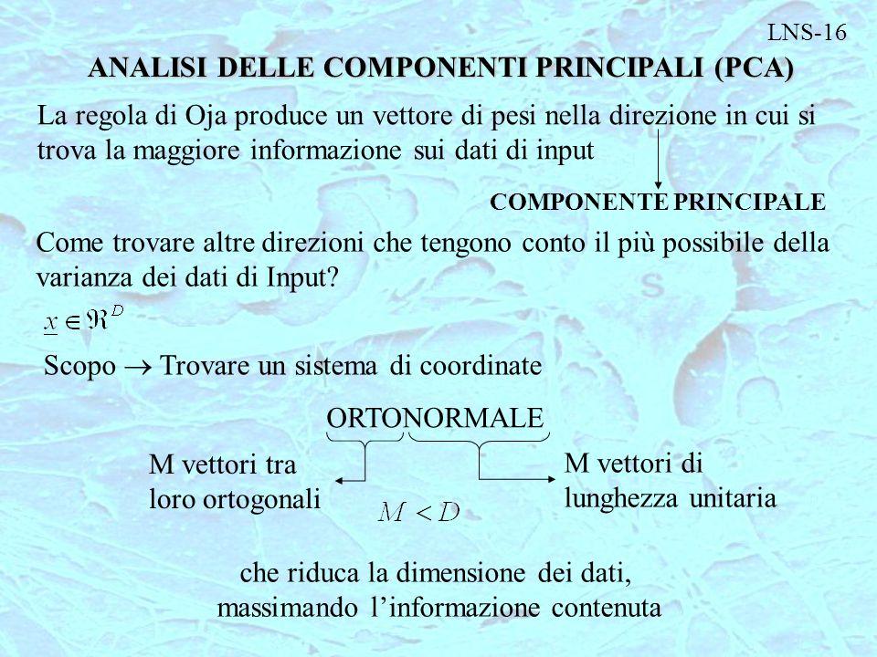 LNS-16 ANALISI DELLE COMPONENTI PRINCIPALI (PCA) La regola di Oja produce un vettore di pesi nella direzione in cui si trova la maggiore informazione