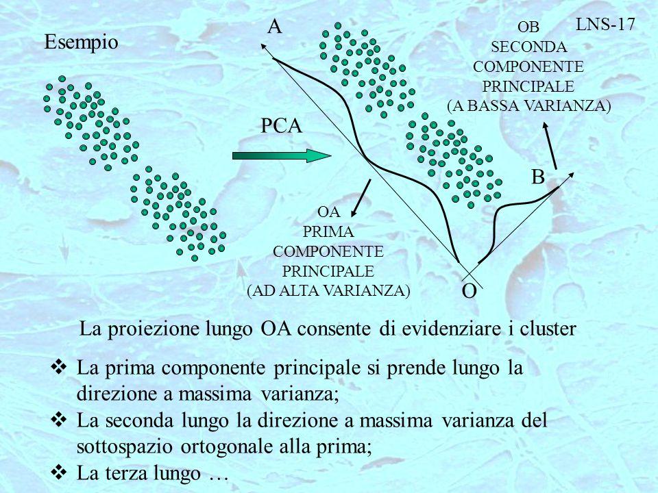 LNS-17 Esempio PCA B A O OA PRIMA COMPONENTE PRINCIPALE (AD ALTA VARIANZA) OB SECONDA COMPONENTE PRINCIPALE (A BASSA VARIANZA) La proiezione lungo OA