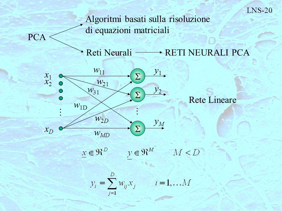 LNS-20 PCA Algoritmi basati sulla risoluzione di equazioni matriciali Reti NeuraliRETI NEURALI PCA    x1x1 x2x2 xDxD w 11 w 21 w 31 w 1D w2Dw2D w M