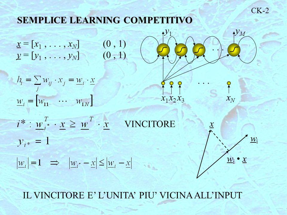 CK-2 SEMPLICE LEARNING COMPETITIVO x = [x 1,..., x N ](0, 1) y = [y 1,..., y N ](0, 1)... x1x1 x2x2 x3x3 xNxN y1y1 yMyM x wiwi wi xwi x IL VINCITORE E