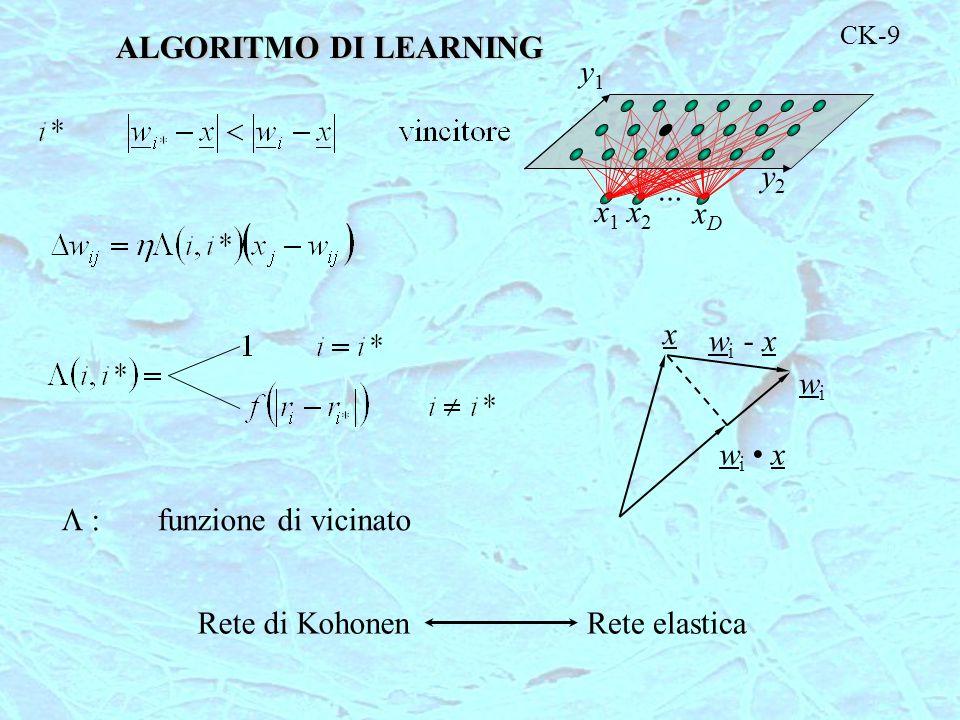 CK-9 y2y2 y1y1 x1x1 x2x2 … xDxD  funzione di vicinato Rete di KohonenRete elastica x wiwi wi xwi x w i - x ALGORITMO DI LEARNING