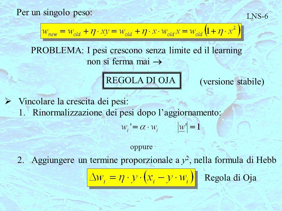 LNS-6 Per un singolo peso: PROBLEMA:I pesi crescono senza limite ed il learning non si ferma mai  REGOLA DI OJA (versione stabile)  Vincolare la cre