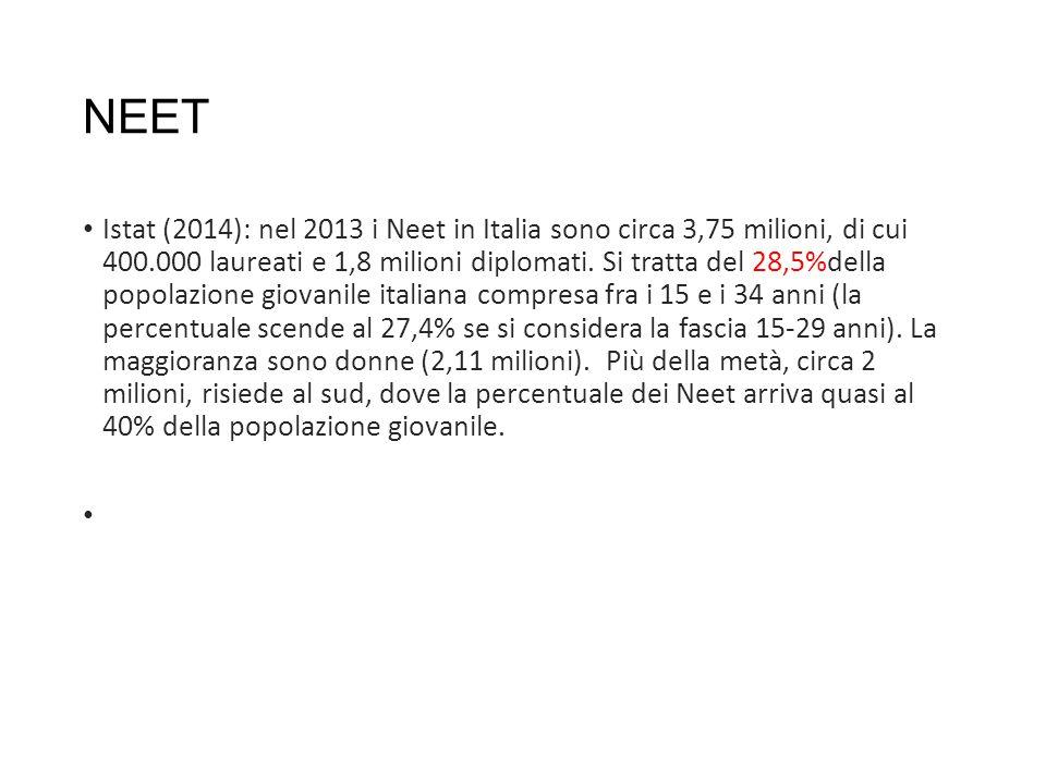 NEET Istat (2014): nel 2013 i Neet in Italia sono circa 3,75 milioni, di cui 400.000 laureati e 1,8 milioni diplomati.