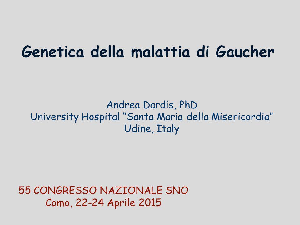 Andrea Dardis, PhD University Hospital Santa Maria della Misericordia Udine, Italy Genetica della malattia di Gaucher 55 CONGRESSO NAZIONALE SNO Como, 22-24 Aprile 2015