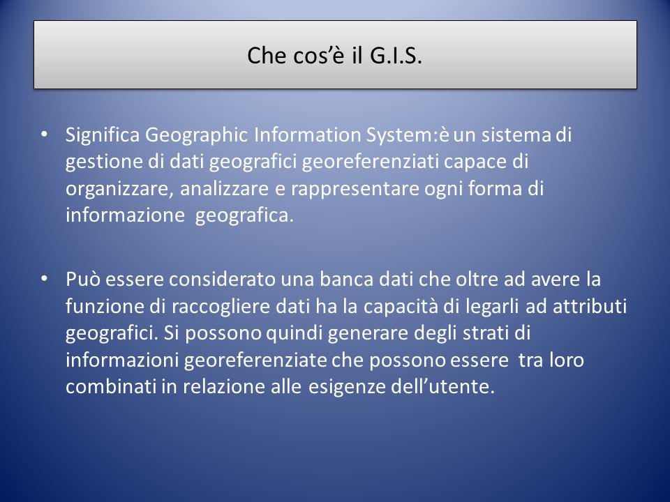 Che cos'è il G.I.S. Significa Geographic Information System:è un sistema di gestione di dati geografici georeferenziati capace di organizzare, analizz