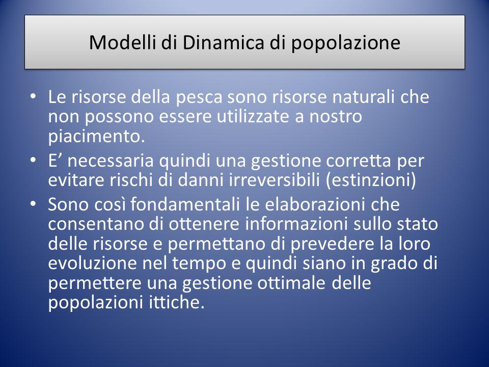 Modelli di Dinamica di popolazione Le risorse della pesca sono risorse naturali che non possono essere utilizzate a nostro piacimento. E' necessaria q