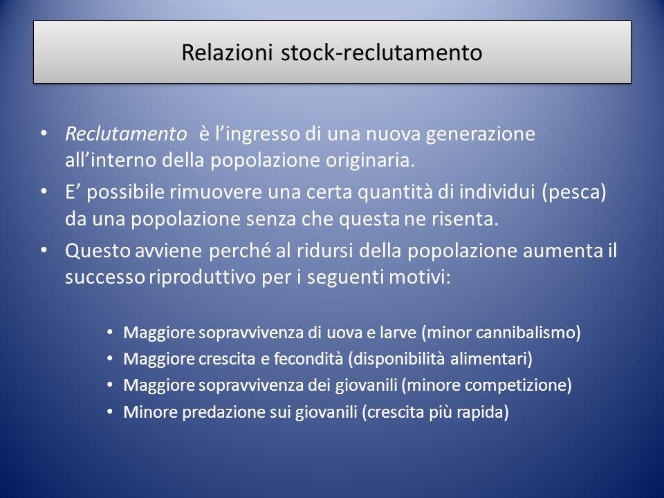 Relazioni stock-reclutamento Reclutamento è l'ingresso di una nuova generazione all'interno della popolazione originaria. E' possibile rimuovere una c