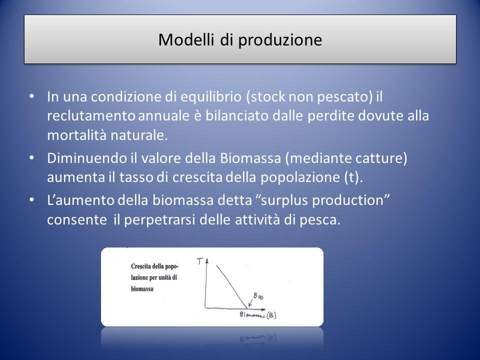 Modelli di produzione In una condizione di equilibrio (stock non pescato) il reclutamento annuale è bilanciato dalle perdite dovute alla mortalità nat
