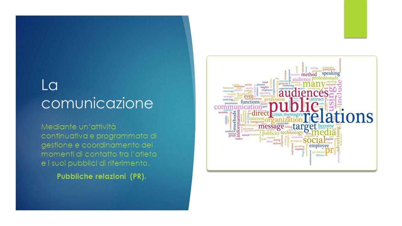 La comunicazione Mediante un'attività continuativa e programmata di gestione e coordinamento dei momenti di contatto tra l'atleta e i suoi pubblici di