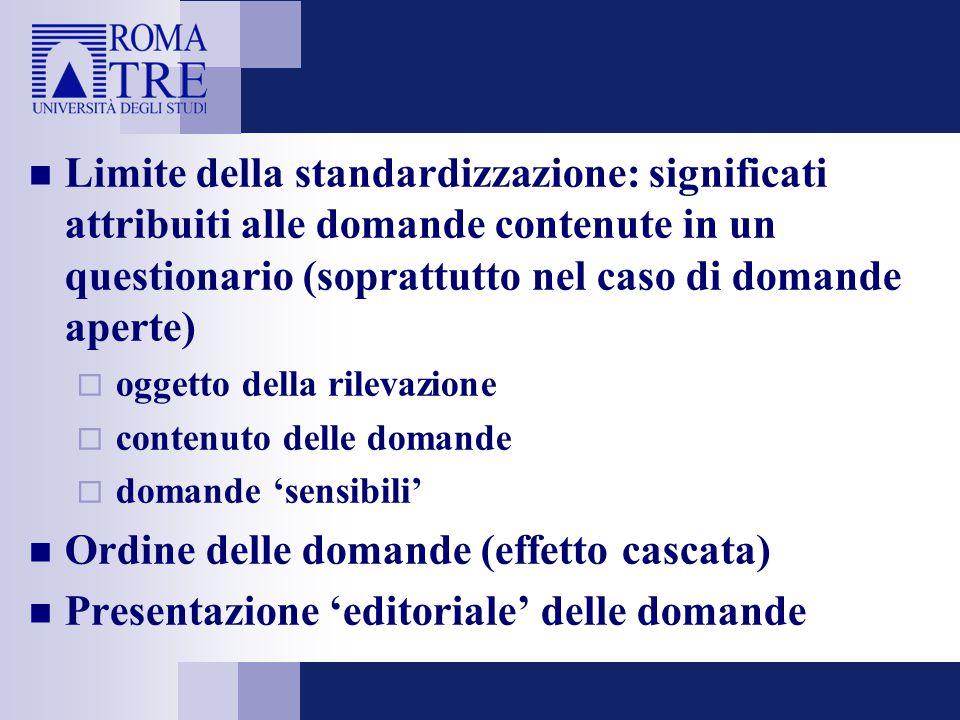 Limite della standardizzazione: significati attribuiti alle domande contenute in un questionario (soprattutto nel caso di domande aperte)  oggetto de