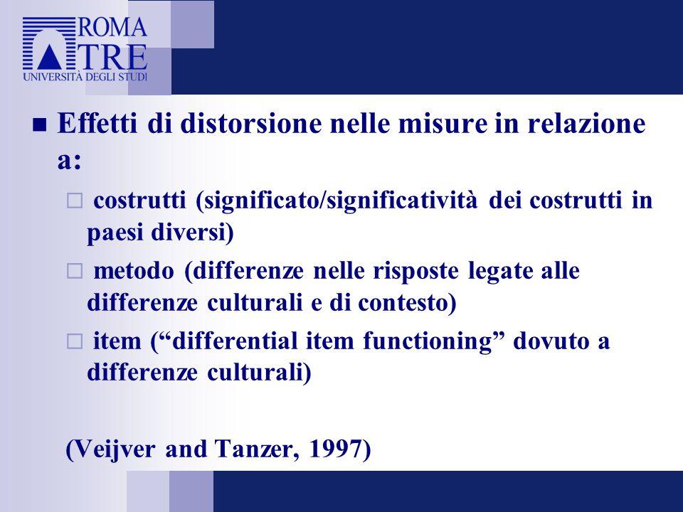 Effetti di distorsione nelle misure in relazione a:  costrutti (significato/significatività dei costrutti in paesi diversi)  metodo (differenze nell