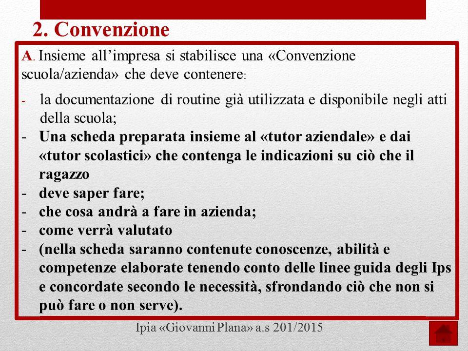 Il lavoro proseguirà con dettagli sulla convenzione e sul patto formativo tra «scuola/studente/impresa» Ipia «Giovanni Plana» a.s 2014/2015