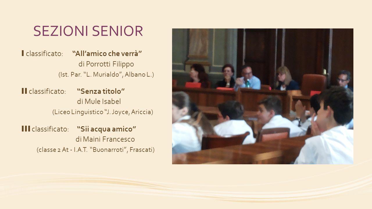 """SEZIONI SENIOR I classificato: """"All'amico che verrà"""" di Porrotti Filippo (Ist. Par. """"L. Murialdo"""", Albano L.) II classificato:""""Senza titolo"""" di Mule I"""