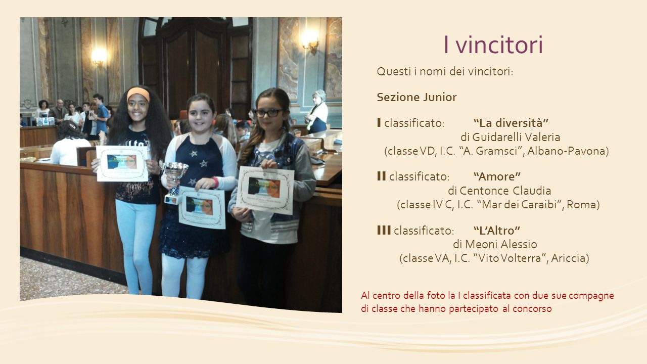 """I vincitori Questi i nomi dei vincitori: Sezione Junior I classificato:""""La diversità"""" di Guidarelli Valeria (classe VD, I.C. """"A. Gramsci"""", Albano-Pavo"""