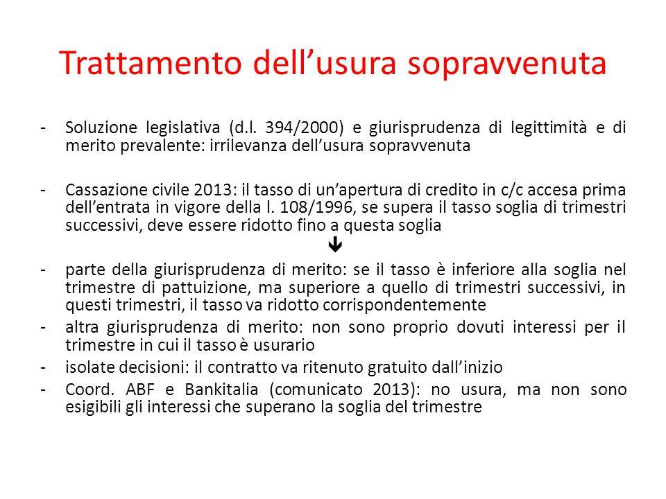 Trattamento dell'usura sopravvenuta -Soluzione legislativa (d.l. 394/2000) e giurisprudenza di legittimità e di merito prevalente: irrilevanza dell'us