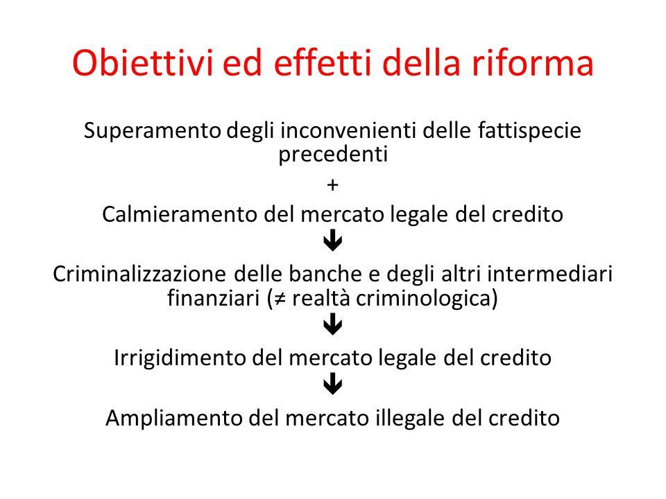 Obiettivi ed effetti della riforma Superamento degli inconvenienti delle fattispecie precedenti + Calmieramento del mercato legale del credito  Crimi