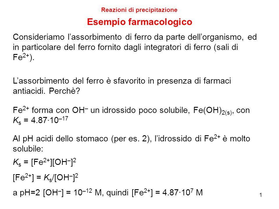 1 Reazioni di precipitazione Esempio farmacologico Consideriamo l'assorbimento di ferro da parte dell'organismo, ed in particolare del ferro fornito d