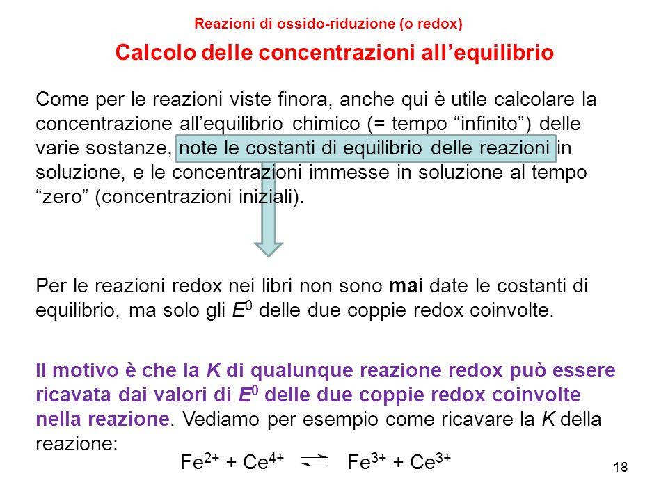 18 Reazioni di ossido-riduzione (o redox) Come per le reazioni viste finora, anche qui è utile calcolare la concentrazione all'equilibrio chimico (= t