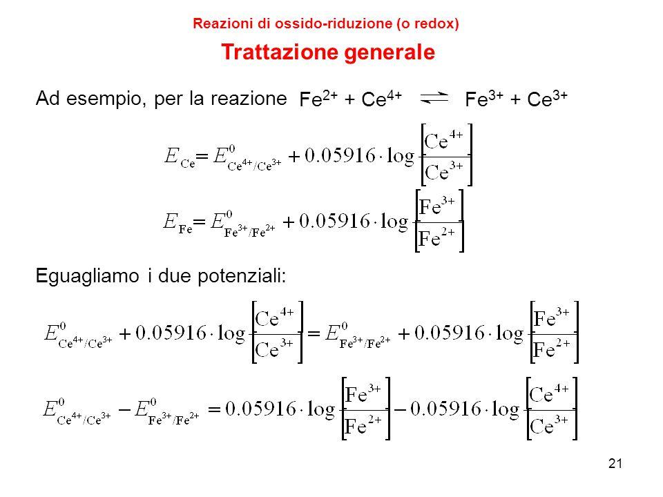 21 Reazioni di ossido-riduzione (o redox) Trattazione generale Fe 2+ + Ce 4+ Fe 3+ + Ce 3+ Ad esempio, per la reazione Eguagliamo i due potenziali: