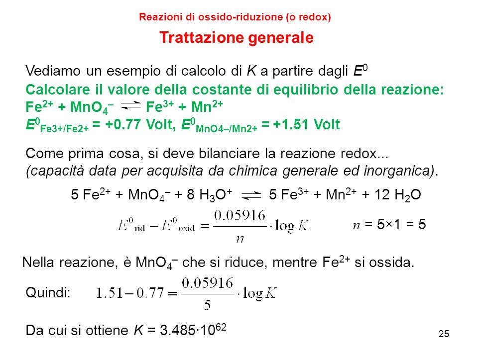 25 Reazioni di ossido-riduzione (o redox) Trattazione generale Calcolare il valore della costante di equilibrio della reazione: Fe 2+ + MnO 4 – Fe 3+