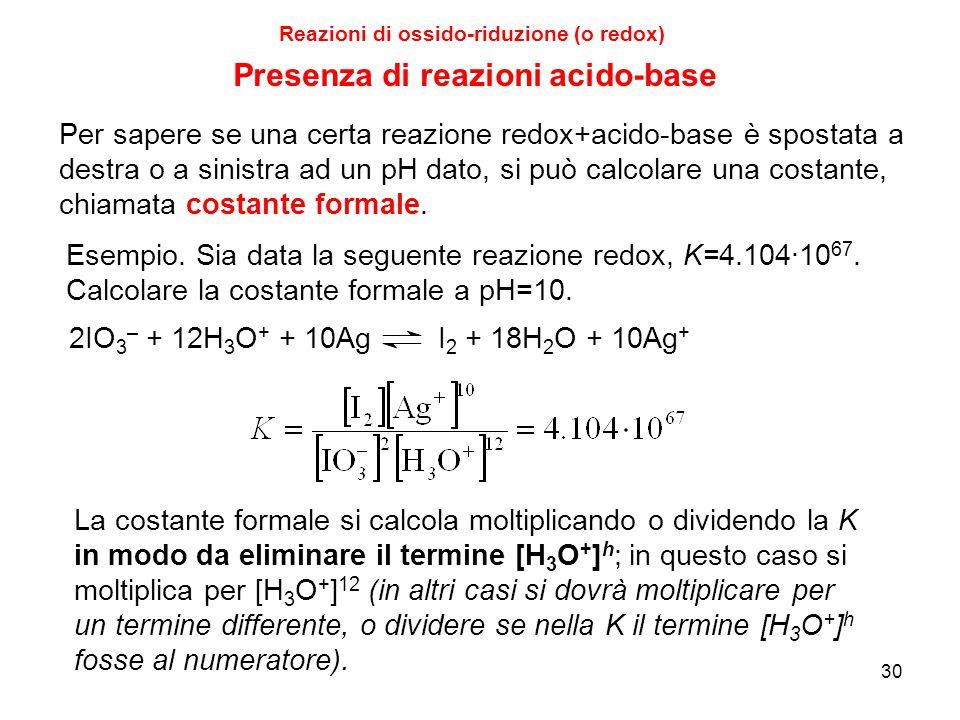 30 Reazioni di ossido-riduzione (o redox) 2IO 3 – + 12H 3 O + + 10Ag I 2 + 18H 2 O + 10Ag + La costante formale si calcola moltiplicando o dividendo l