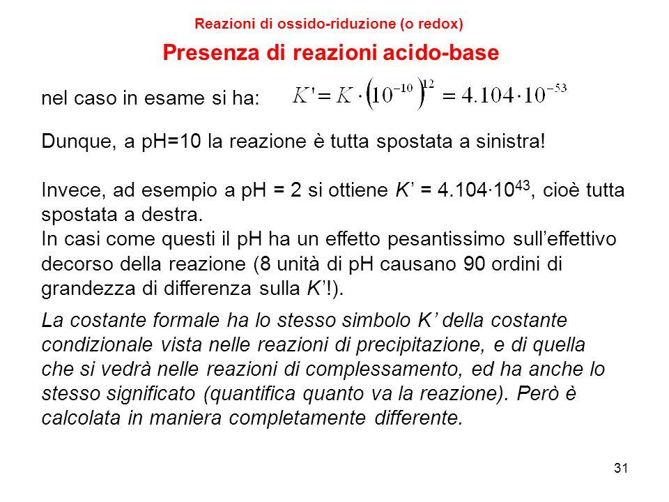 31 Reazioni di ossido-riduzione (o redox) Dunque, a pH=10 la reazione è tutta spostata a sinistra! Invece, ad esempio a pH = 2 si ottiene K ' = 4.104