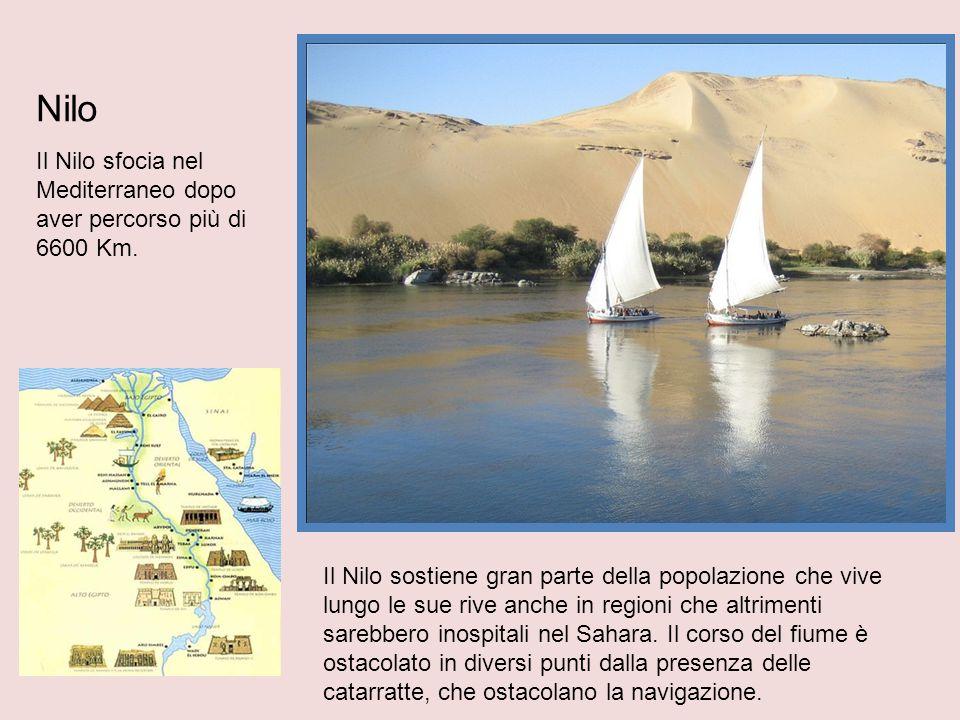Nilo Il Nilo sfocia nel Mediterraneo dopo aver percorso più di 6600 Km. Il Nilo sostiene gran parte della popolazione che vive lungo le sue rive anche