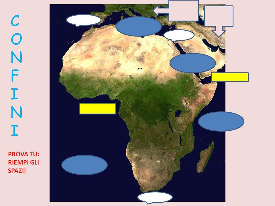 C O N F I N I L'Africa è bagnata a Nord dal …………… ed è separata dall'Europa dallo Stretto……………….