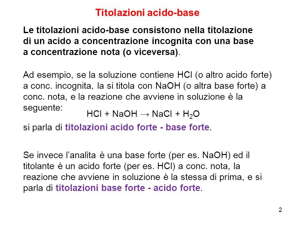 2 Titolazioni acido-base Le titolazioni acido-base consistono nella titolazione di un acido a concentrazione incognita con una base a concentrazione n