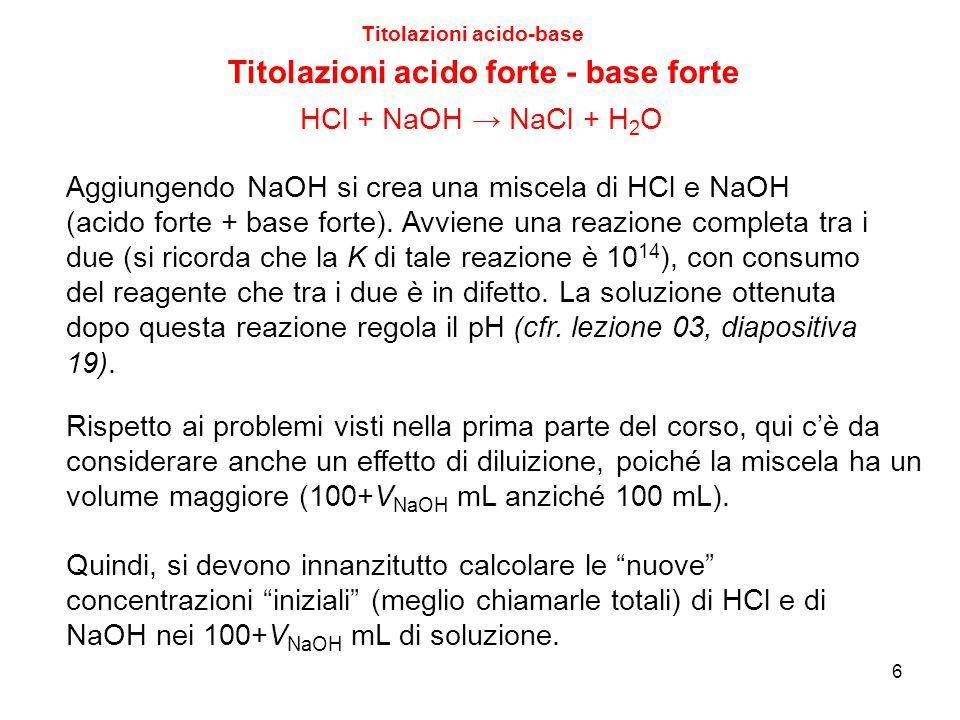 6 Titolazioni acido-base Titolazioni acido forte - base forte Aggiungendo NaOH si crea una miscela di HCl e NaOH (acido forte + base forte). Avviene u