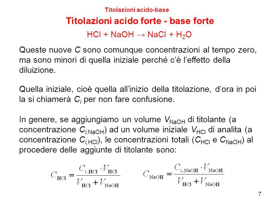 7 Titolazioni acido-base Titolazioni acido forte - base forte Queste nuove C sono comunque concentrazioni al tempo zero, ma sono minori di quella iniz
