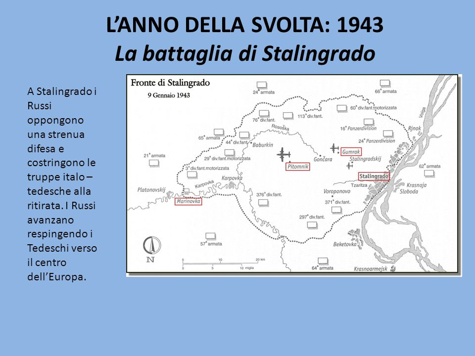 L'ANNO DELLA SVOLTA: 1943 La battaglia di Stalingrado A Stalingrado i Russi oppongono una strenua difesa e costringono le truppe italo – tedesche alla ritirata.