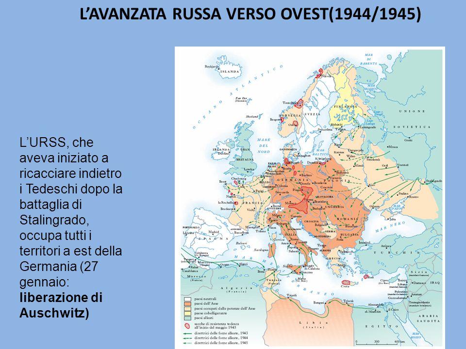 L'URSS, che aveva iniziato a ricacciare indietro i Tedeschi dopo la battaglia di Stalingrado, occupa tutti i territori a est della Germania (27 gennaio: liberazione di Auschwitz) L'AVANZATA RUSSA VERSO OVEST(1944/1945)