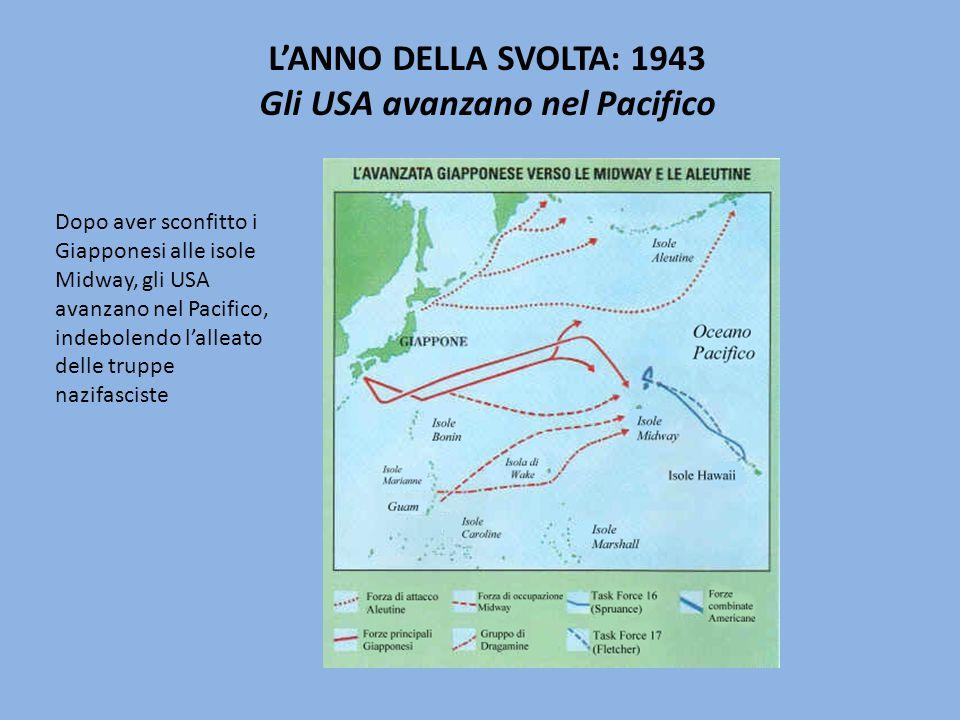 L'ANNO DELLA SVOLTA: 1943 Gli USA avanzano nel Pacifico Dopo aver sconfitto i Giapponesi alle isole Midway, gli USA avanzano nel Pacifico, indebolendo l'alleato delle truppe nazifasciste