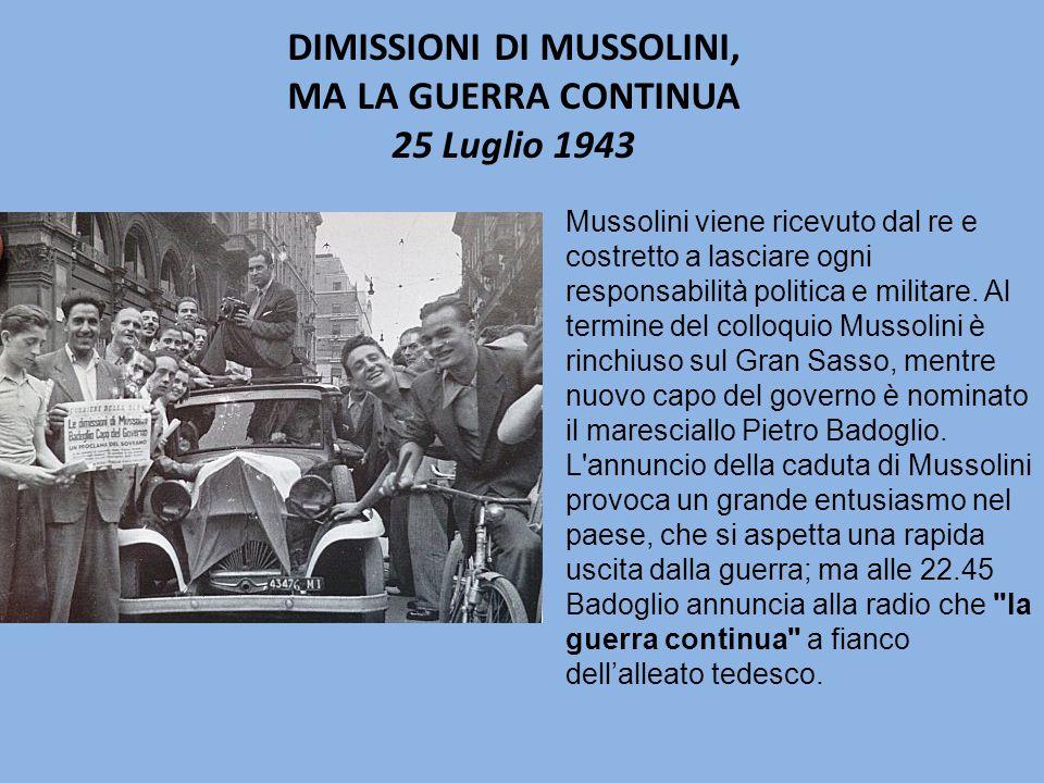 Mussolini viene ricevuto dal re e costretto a lasciare ogni responsabilità politica e militare.