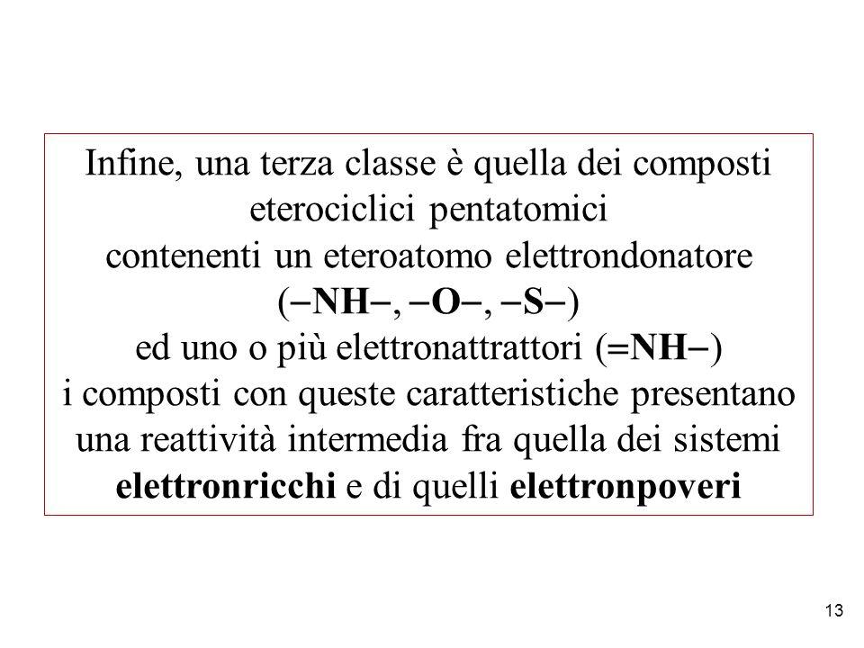 13 Infine, una terza classe è quella dei composti eterociclici pentatomici contenenti un eteroatomo elettrondonatore (  NH ,  O ,  S  ) ed uno o più elettronattrattori (  NH  ) i composti con queste caratteristiche presentano una reattività intermedia fra quella dei sistemi elettronricchi e di quelli elettronpoveri