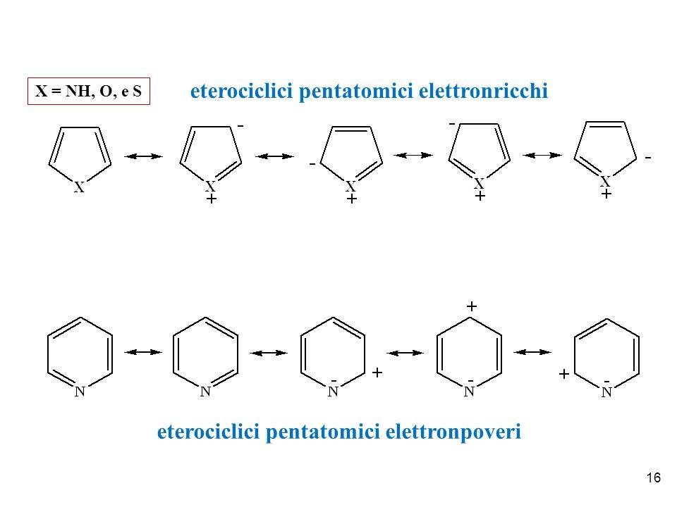 16 eterociclici pentatomici elettronricchi X = NH, O, e S eterociclici pentatomici elettronpoveri