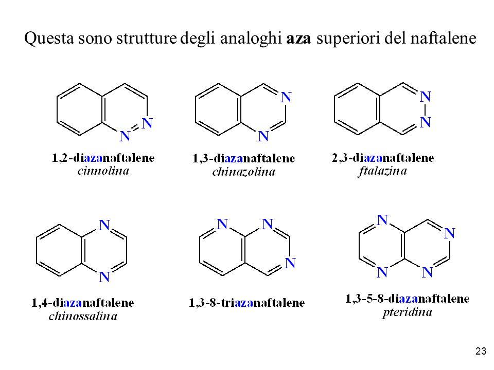 23 Questa sono strutture degli analoghi aza superiori del naftalene