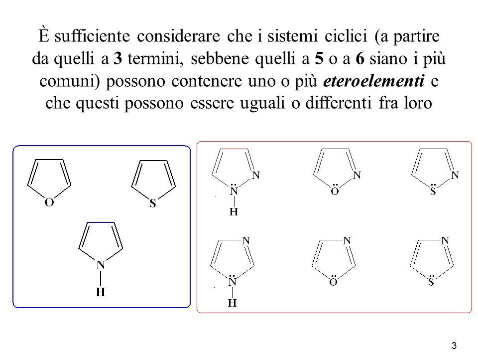 4 Inoltre, se si considerano i polieterociclici, cioè sistemi contenenti più eterociclici, le possibilità diventano illimitate sia per il numero sia per il tipo sia per il modo con cui si possono combinare i vari anelli eterociclici