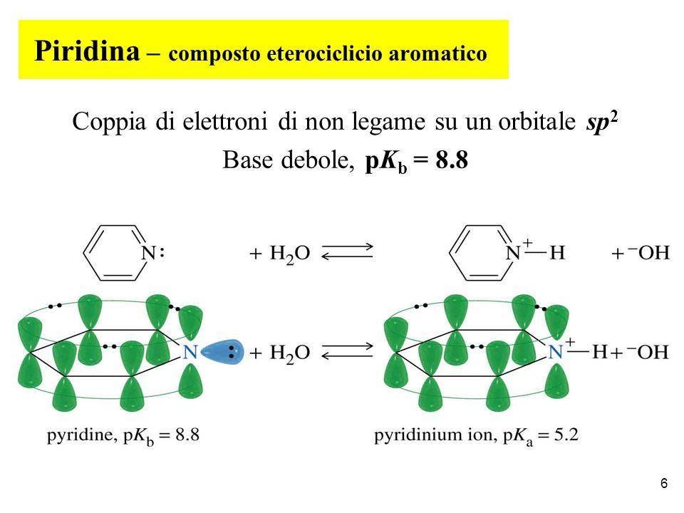 Piridina – composto eterociclicio aromatico Coppia di elettroni di non legame su un orbitale sp 2 Base debole, pK b = 8.8 6