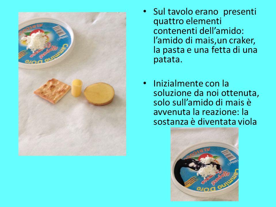 Sul tavolo erano presenti quattro elementi contenenti dell'amido: l'amido di mais,un craker, la pasta e una fetta di una patata. Inizialmente con la s