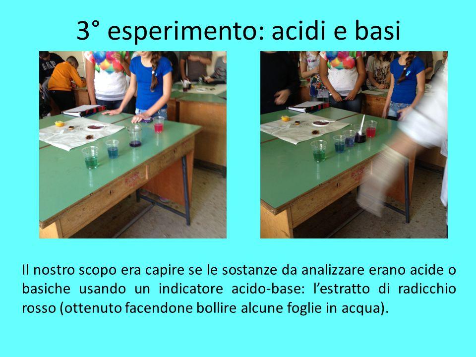 3° esperimento: acidi e basi Il nostro scopo era capire se le sostanze da analizzare erano acide o basiche usando un indicatore acido-base: l'estratto