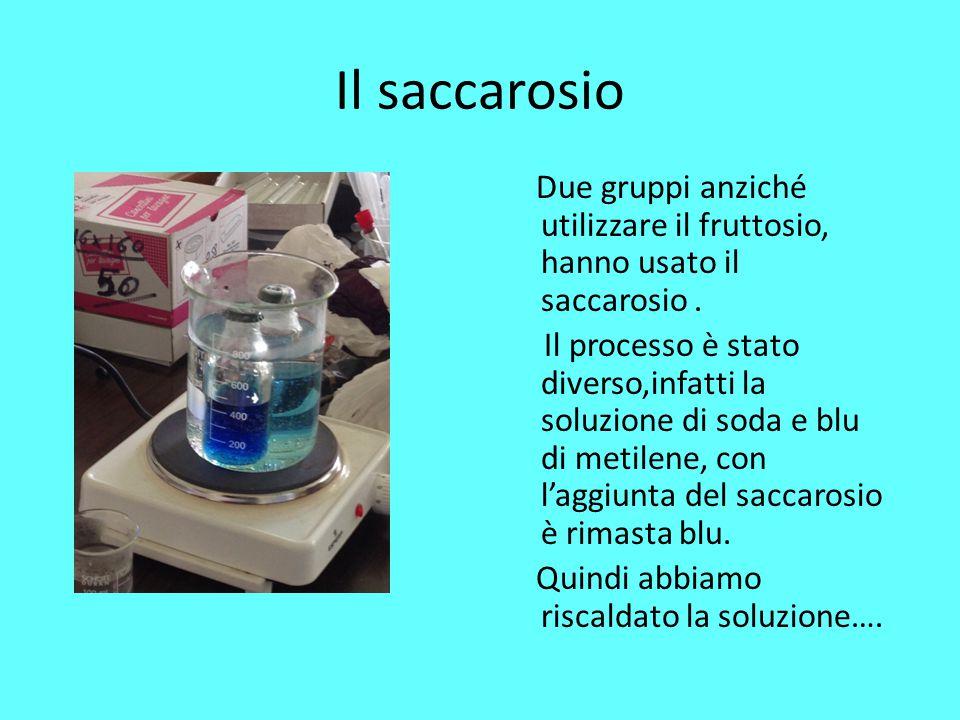 Il saccarosio Due gruppi anziché utilizzare il fruttosio, hanno usato il saccarosio. Il processo è stato diverso,infatti la soluzione di soda e blu di