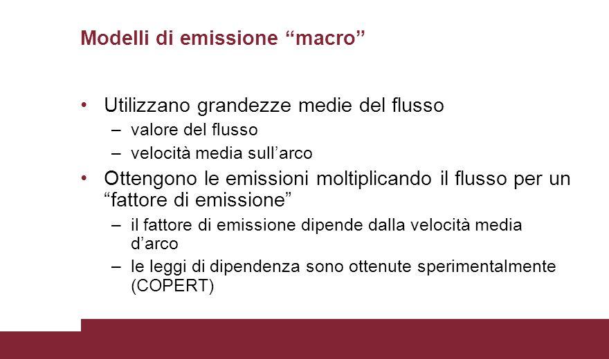 Utilizzano grandezze medie del flusso –valore del flusso –velocità media sull'arco Ottengono le emissioni moltiplicando il flusso per un fattore di emissione –il fattore di emissione dipende dalla velocità media d'arco –le leggi di dipendenza sono ottenute sperimentalmente (COPERT) Modelli di emissione macro