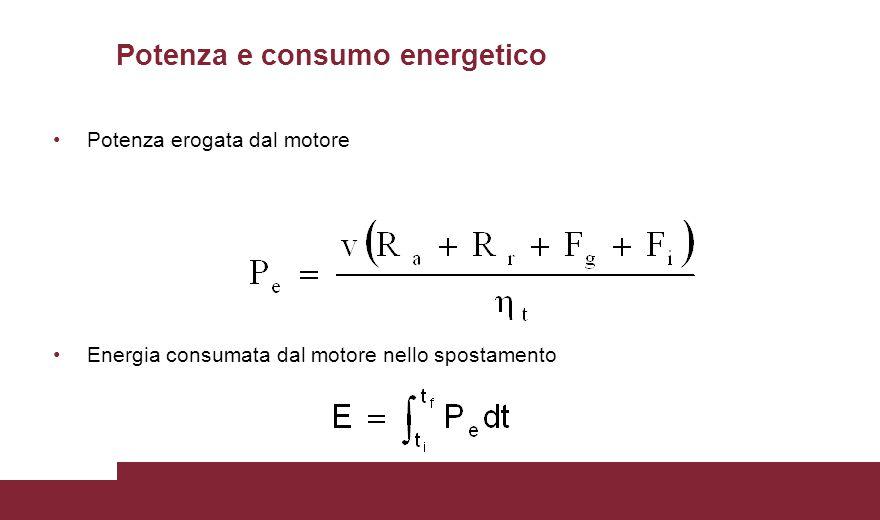Potenza e consumo energetico Potenza erogata dal motore Energia consumata dal motore nello spostamento