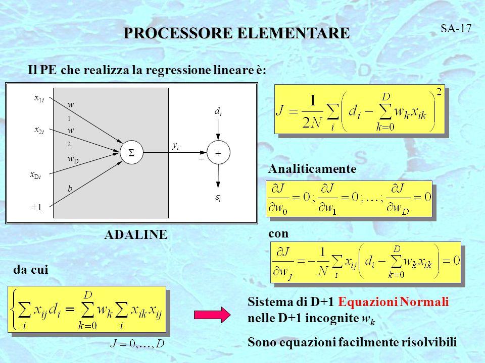 PROCESSORE ELEMENTARE Il PE che realizza la regressione lineare è: ADALINE Analiticamente con da cui Sistema di D+1 Equazioni Normali nelle D+1 incognite w k Sono equazioni facilmente risolvibili SA-17  didi ii yiyi w1w1 w2w2 wDwD b x1ix1i x2ix2i xDixDi +1+1 _