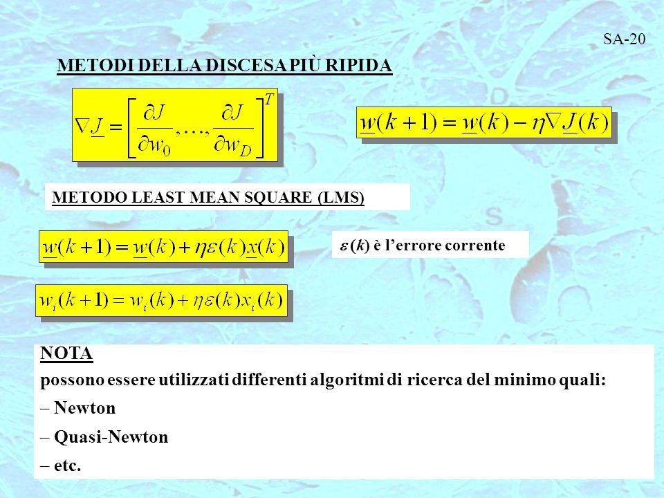 METODI DELLA DISCESA PIÙ RIPIDA METODO LEAST MEAN SQUARE (LMS)  k) è l'errore corrente NOTA possono essere utilizzati differenti algoritmi di ricerca del minimo quali: – Newton – Quasi-Newton – etc.